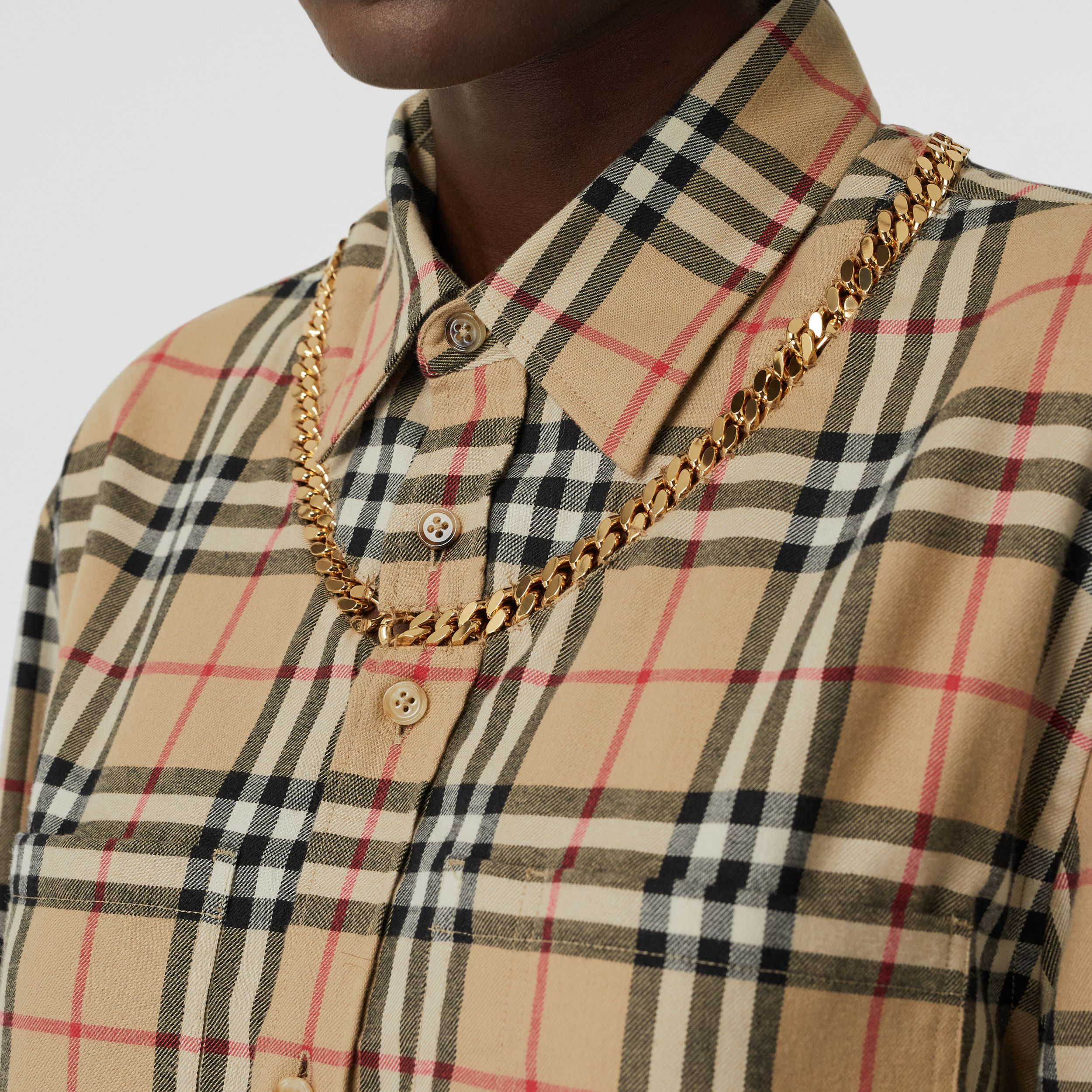 Chain Detail Vintage Check Cotton Flannel Shirt in Archive Beige - Women | Burberry - 2