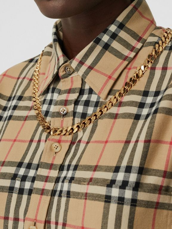 Chain Detail Vintage Check Cotton Flannel Shirt in Archive Beige - Women | Burberry - cell image 1
