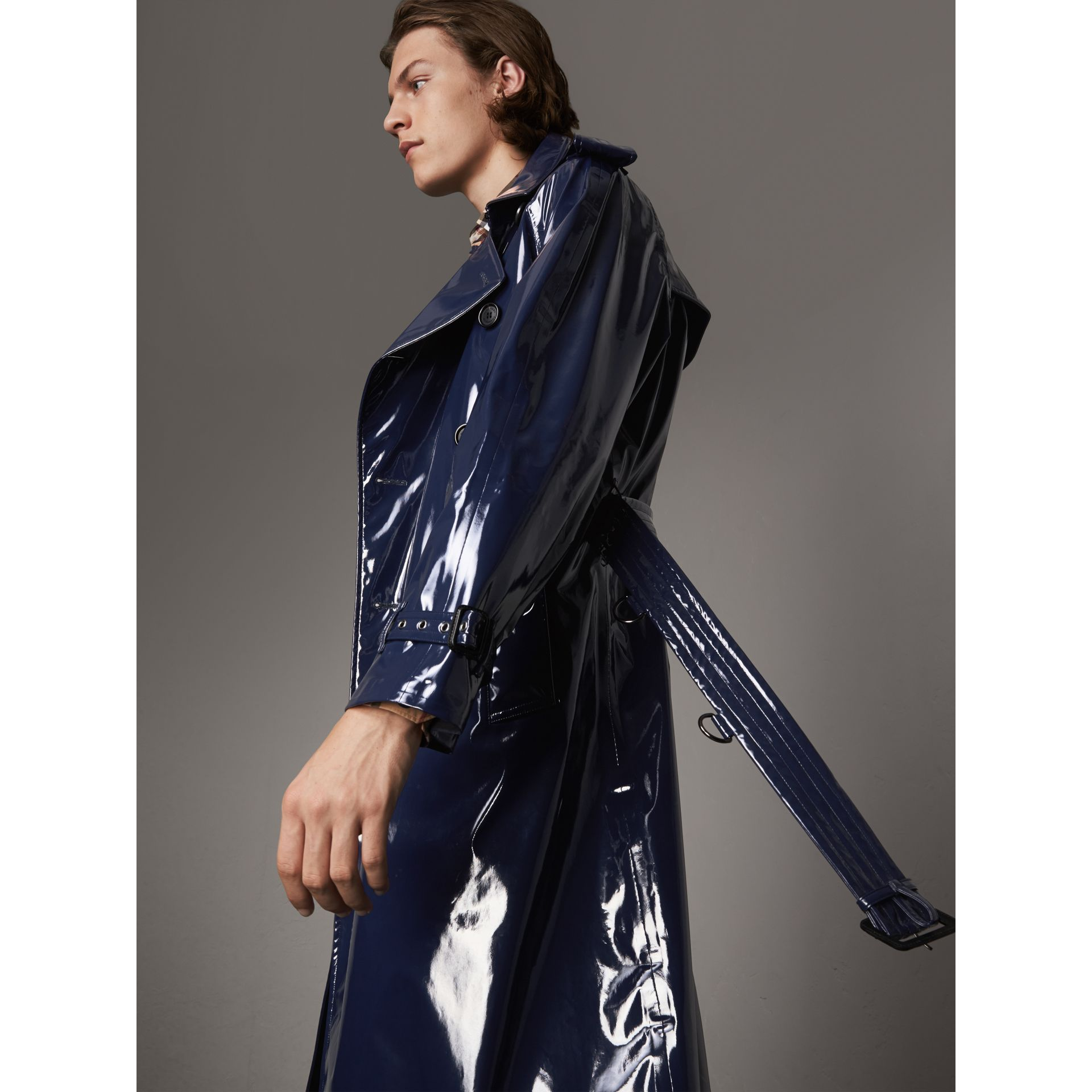Laminated Cotton Trench Coat in Navy - Men | Burberry - gallery image 4