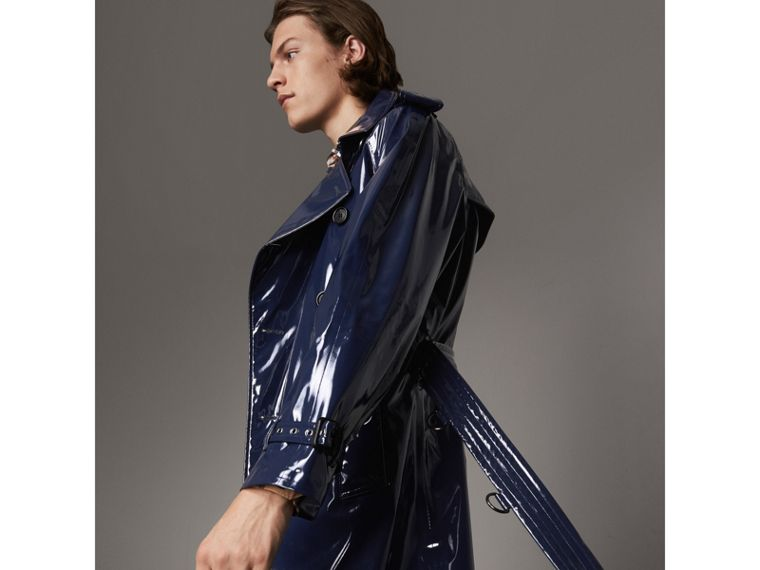 Laminated Cotton Trench Coat in Navy - Men | Burberry Canada - cell image 4