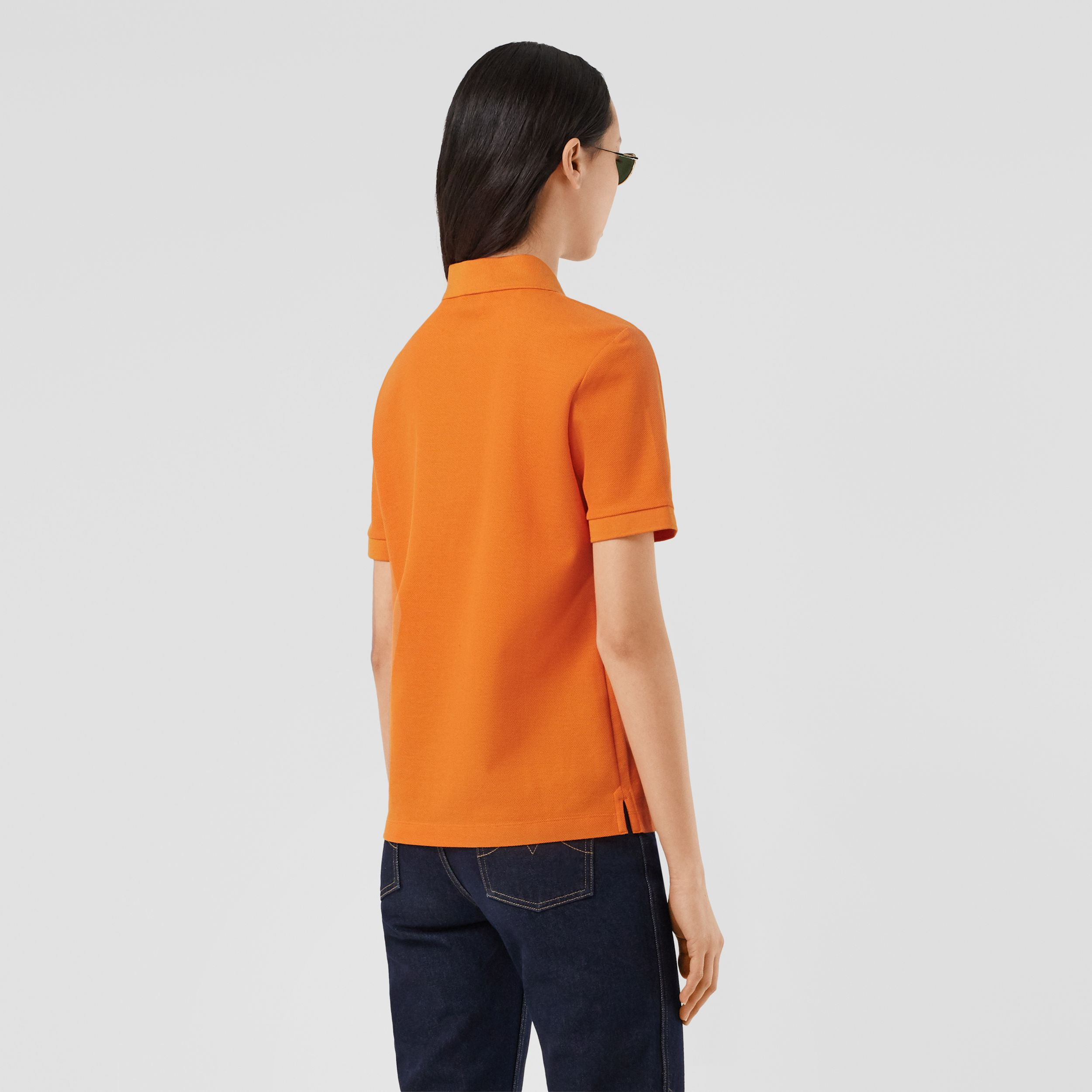 Monogram Motif Cotton Piqué Polo Shirt in Bright Orange - Women | Burberry - 3