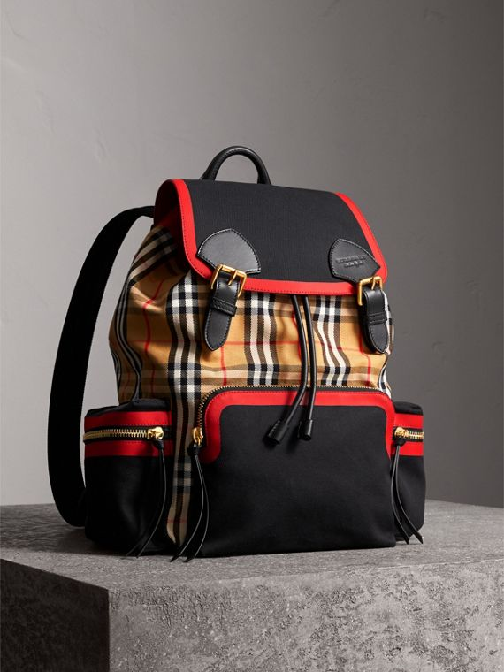 Grand sac The Rucksack en cuir et toile Vintage check (Jaune Antique)