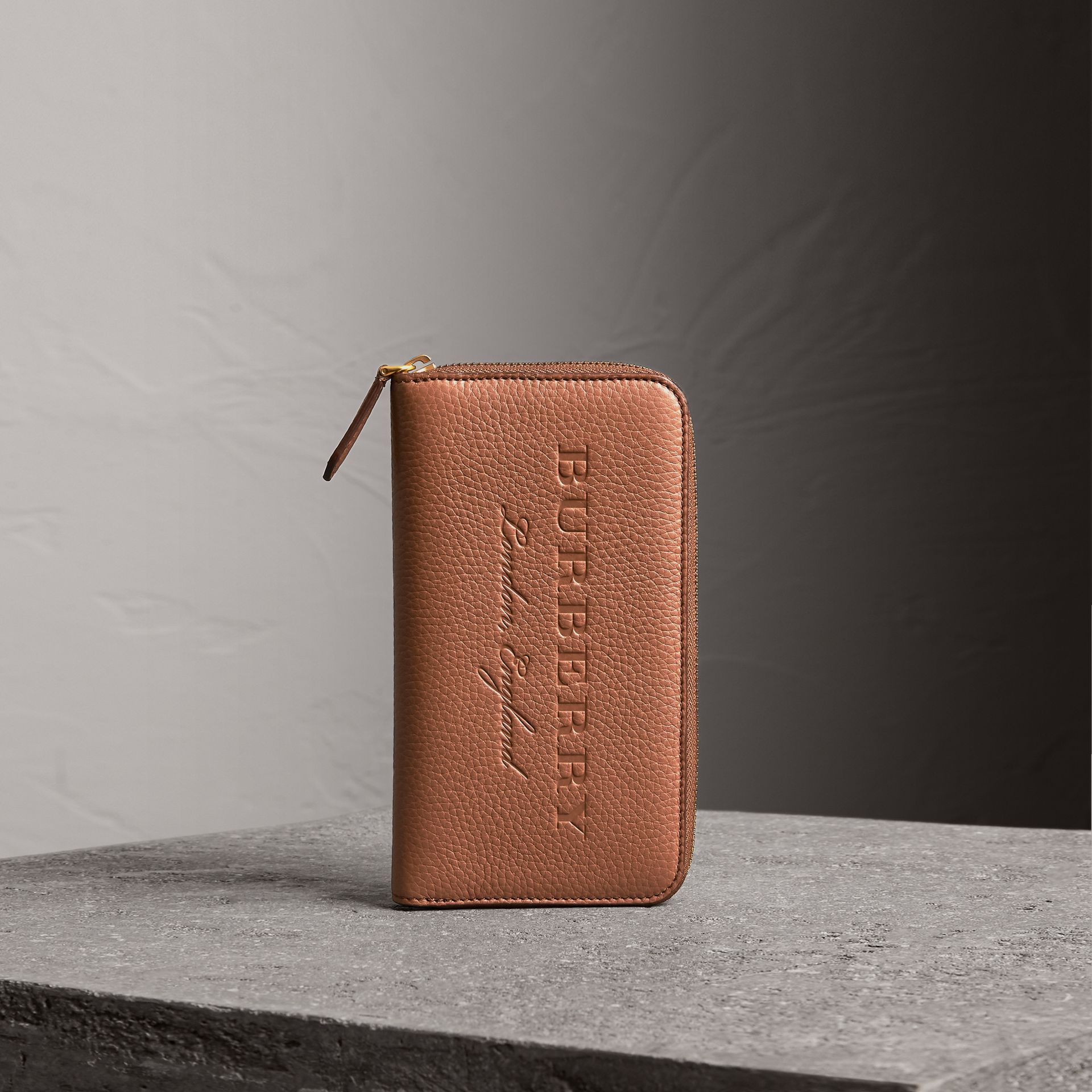 Embossed Grainy Leather Ziparound Wallet in Chestnut Brown - Men | Burberry United Kingdom - gallery image 0