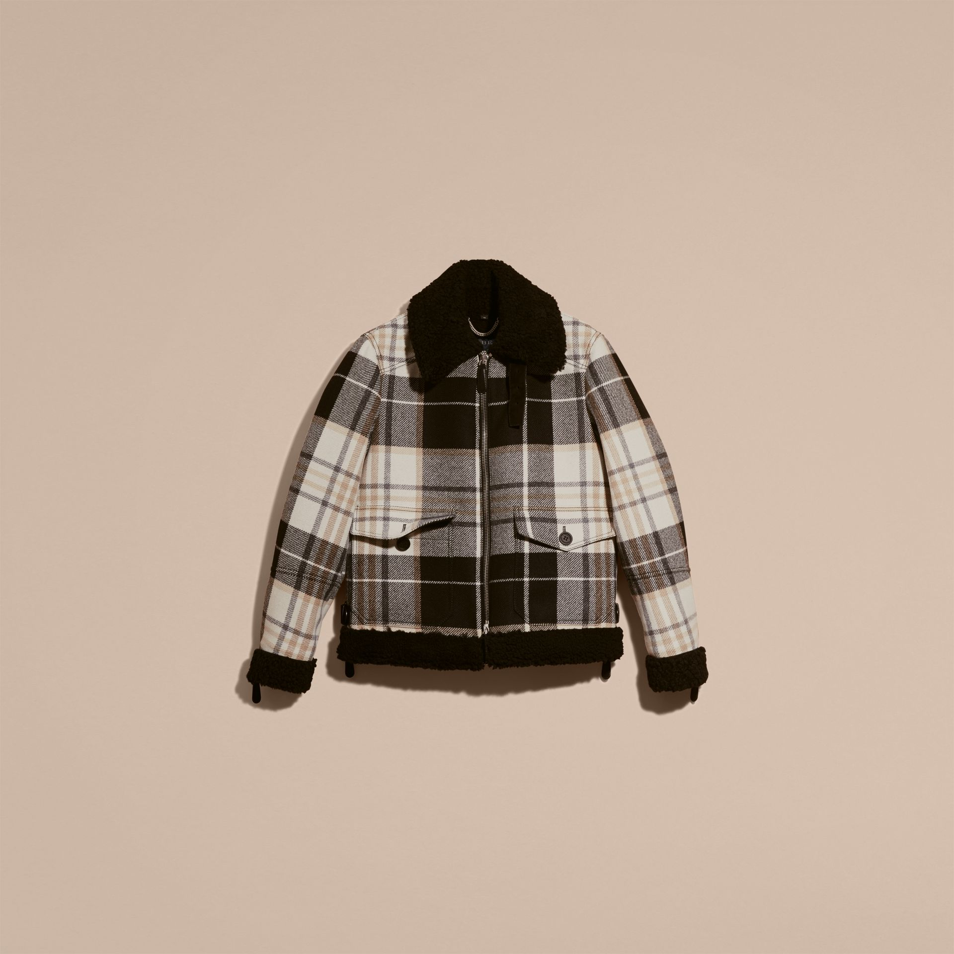 Black Shearling Trim Tartan Wool Flight Jacket - gallery image 4