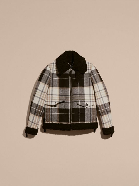 Black Shearling Trim Tartan Wool Flight Jacket - cell image 3
