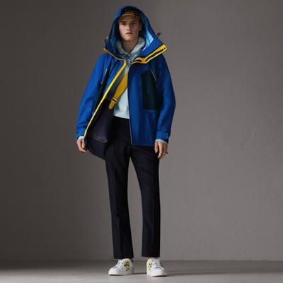 Tri-Tone Nylon Hooded Jacket, Bright Navy