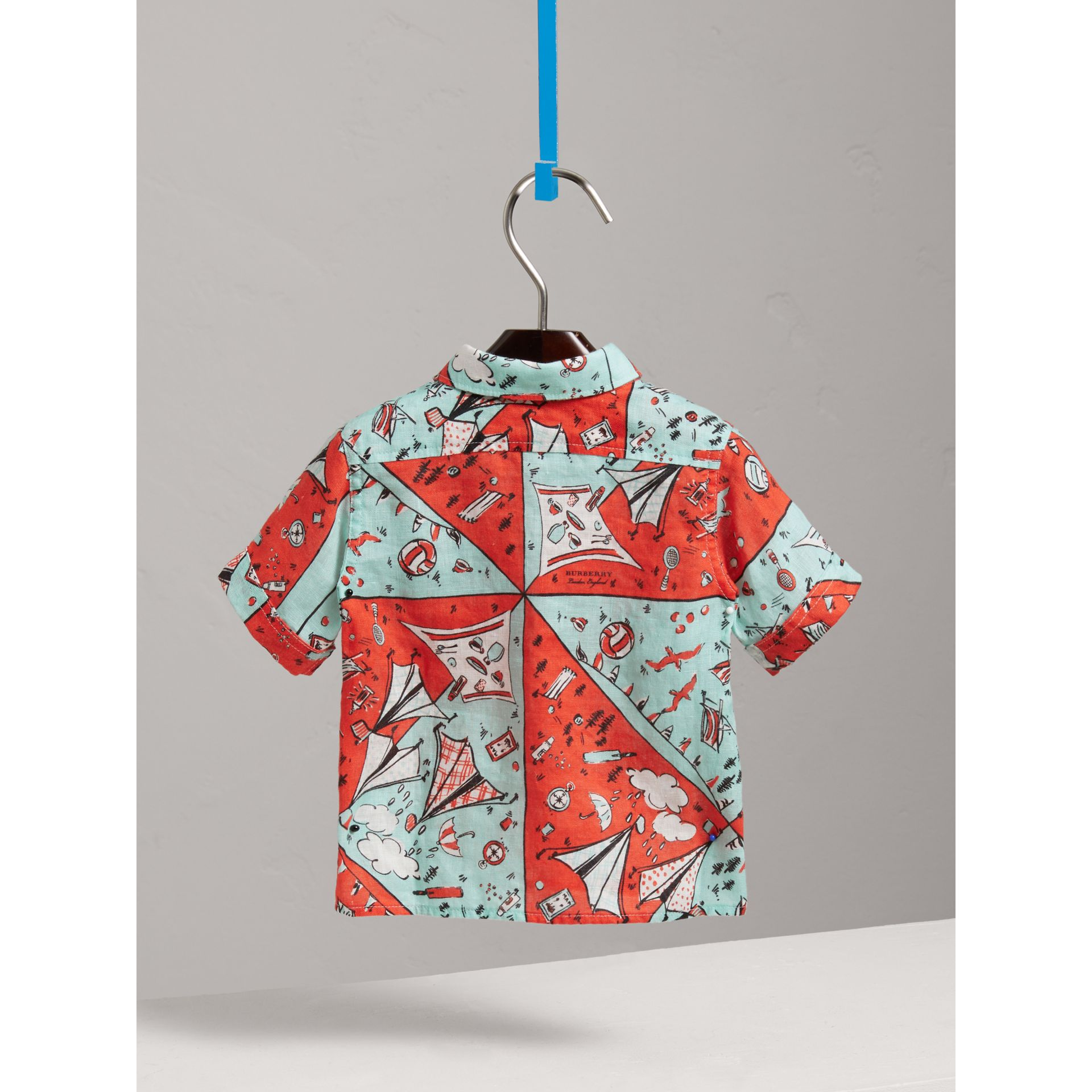 Short-sleeve Picnic Print Linen Shirt in Bright Aqua | Burberry - gallery image 3