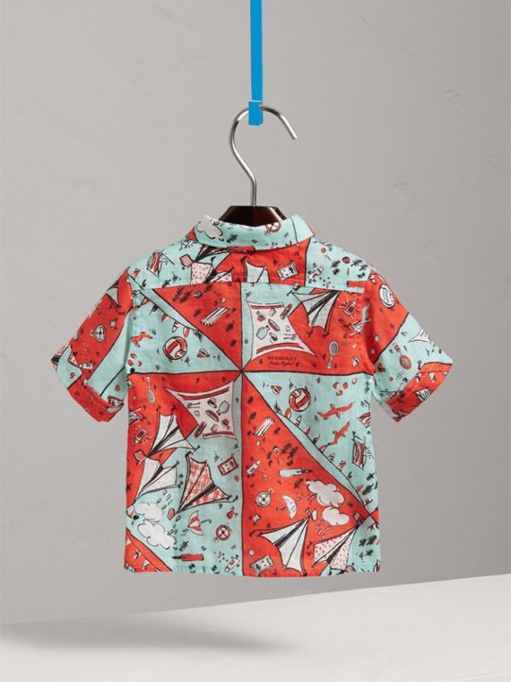 Short-sleeve Picnic Print Linen Shirt in Bright Aqua | Burberry Australia - cell image 3