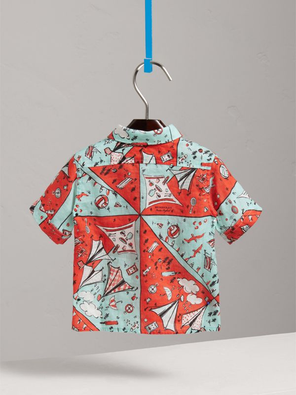 Short-sleeve Picnic Print Linen Shirt in Bright Aqua | Burberry United Kingdom - cell image 3