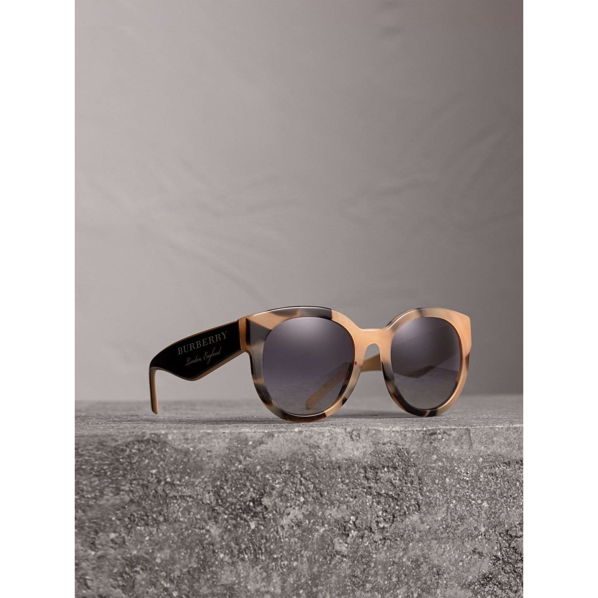 Round Frame Sunglasses in Honey - Women | Burberry United Kingdom - gallery image 0