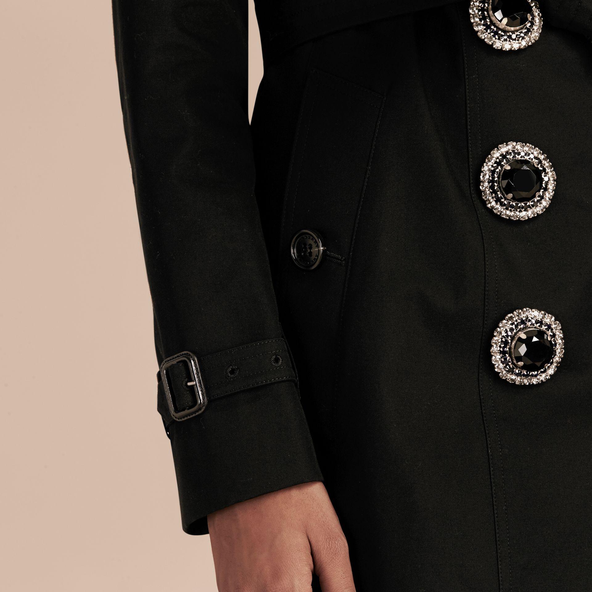Black Cotton Gabardine Trench Coat with Embellished Fastening - gallery image 7