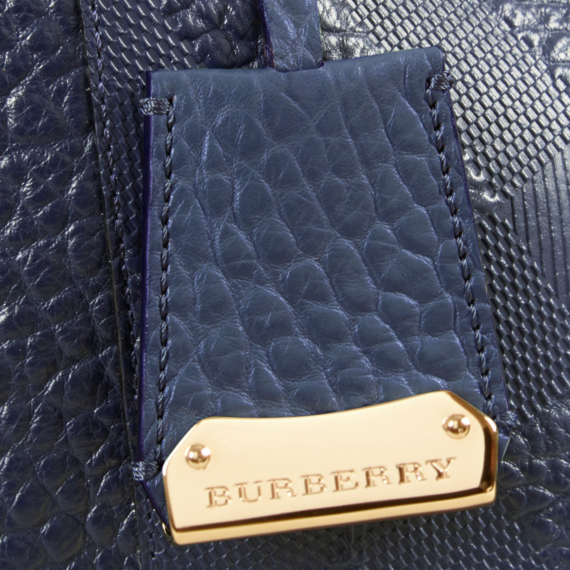 Blue carbon The Small Canter in Check Embossed Leather Blue Carbon - gallery image 6