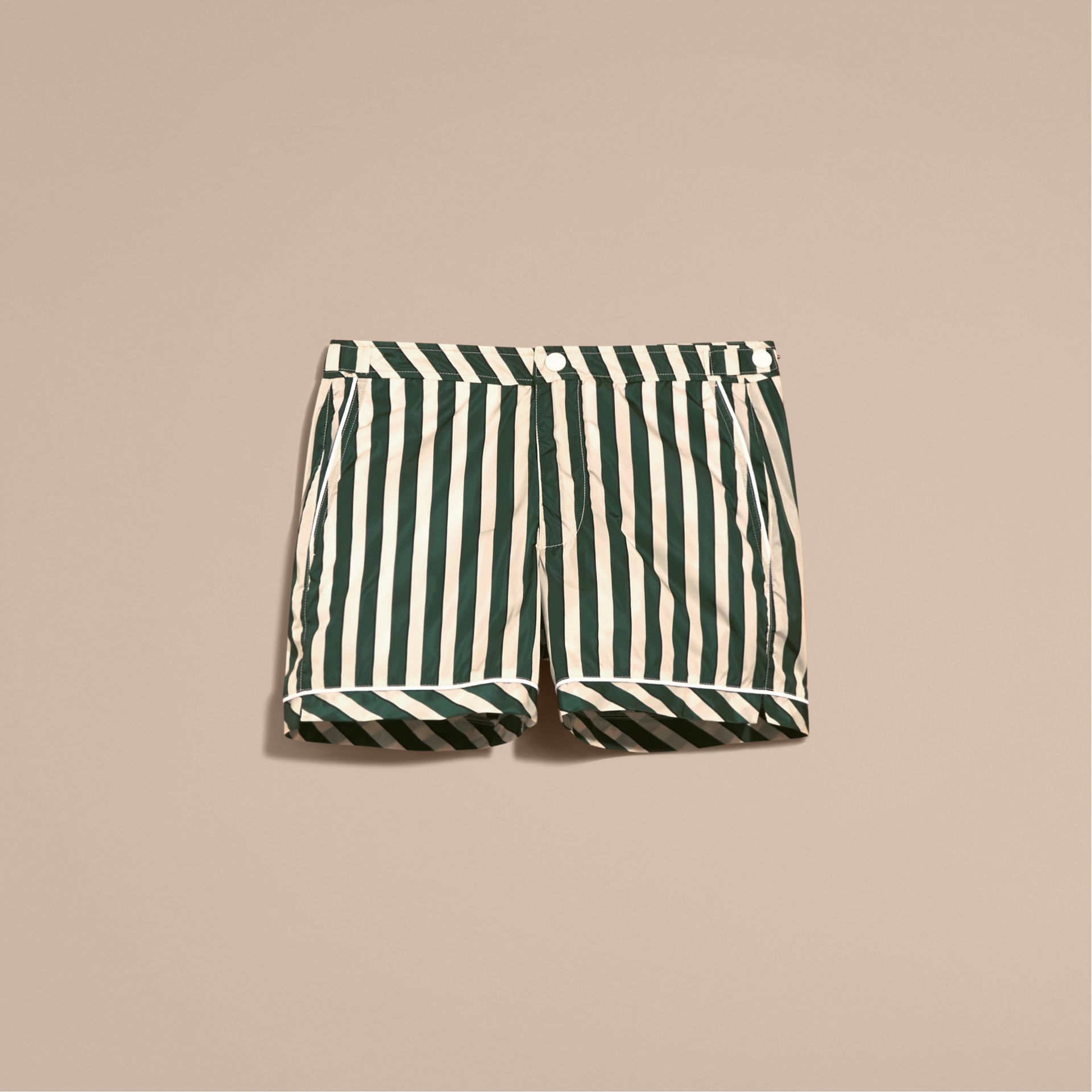 Forest green Pyjama Stripe Swim Shorts - gallery image 4