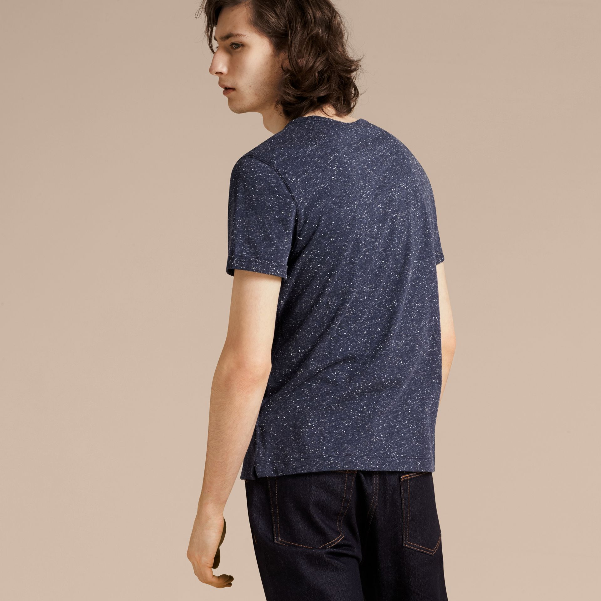 Dark navy Crew Neck Flecked Cotton Jersey T-Shirt Dark Navy - gallery image 3