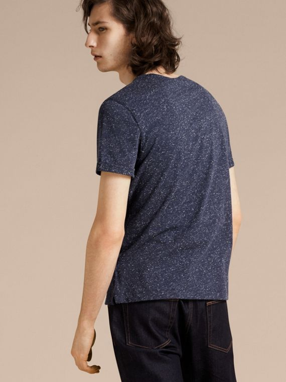 Dark navy Crew Neck Flecked Cotton Jersey T-Shirt Dark Navy - cell image 2