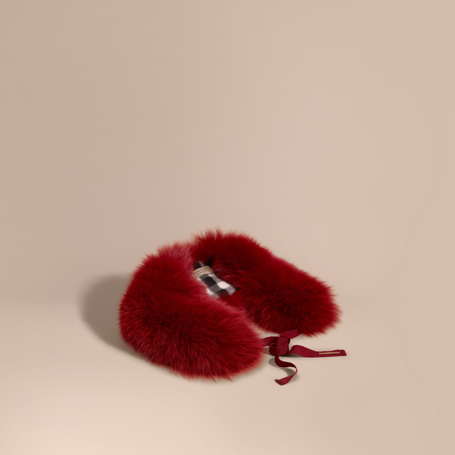 Parade red check Fox Fur Collar with Check Cashmere Lining Parade Red - gallery image 1
