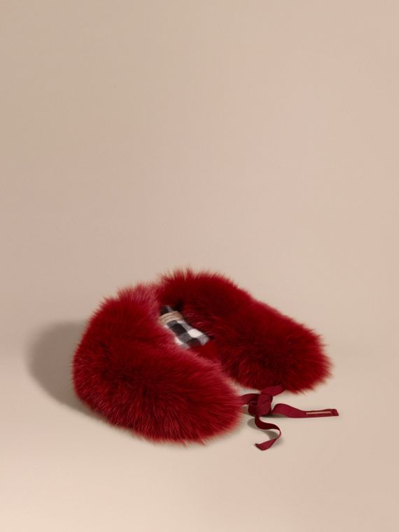 Fox Fur Collar with Check Cashmere Lining Parade Red