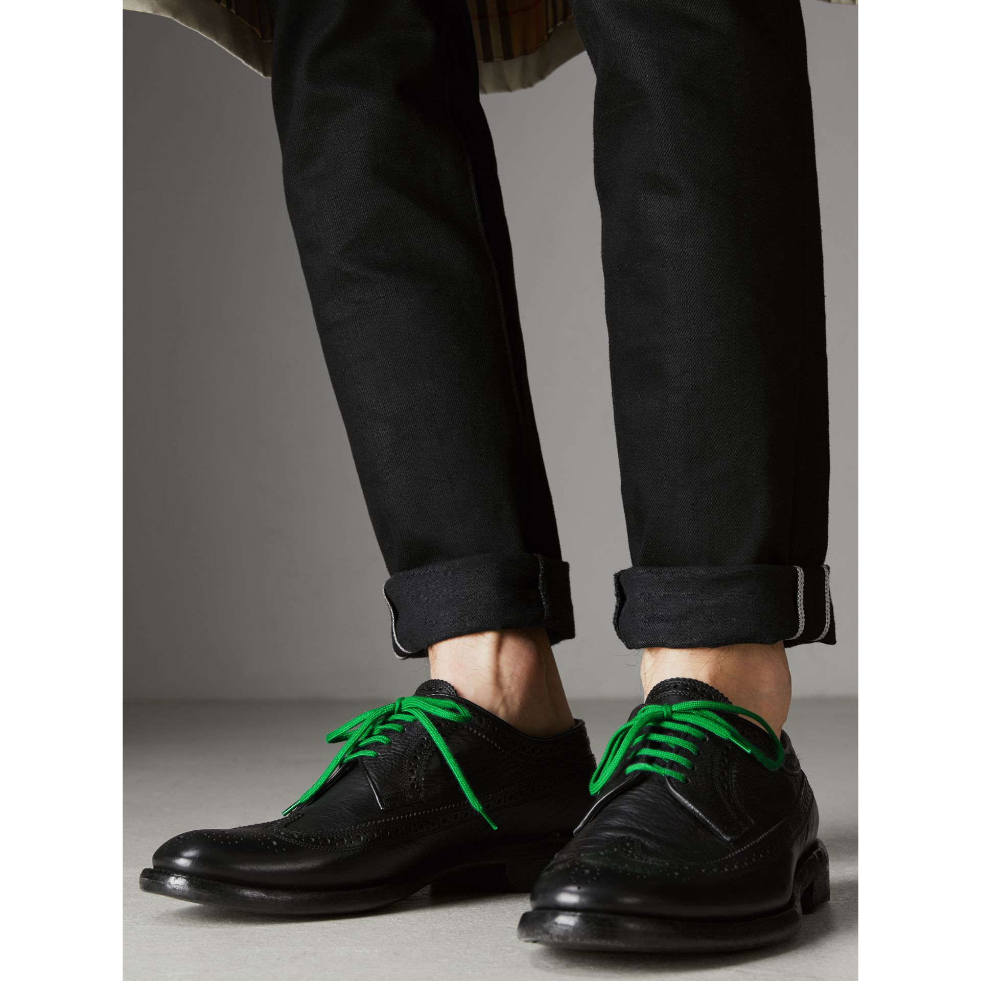 Grainy Leather Brogues with Bright Laces in Black - Men | Burberry - gallery image 2