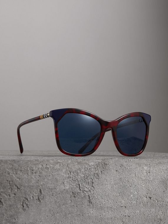 Marble-effect Square Frame Sunglasses in Red