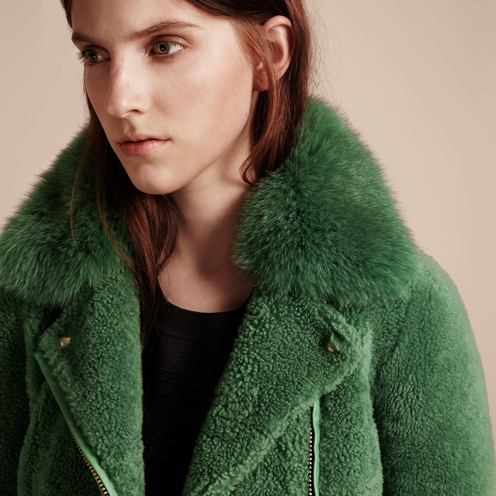 Pigment green Shearling Biker Jacket with Fur Collar Pigment Green - gallery image 5