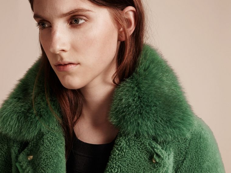 Pigment green Shearling Biker Jacket with Fur Collar Pigment Green - cell image 4