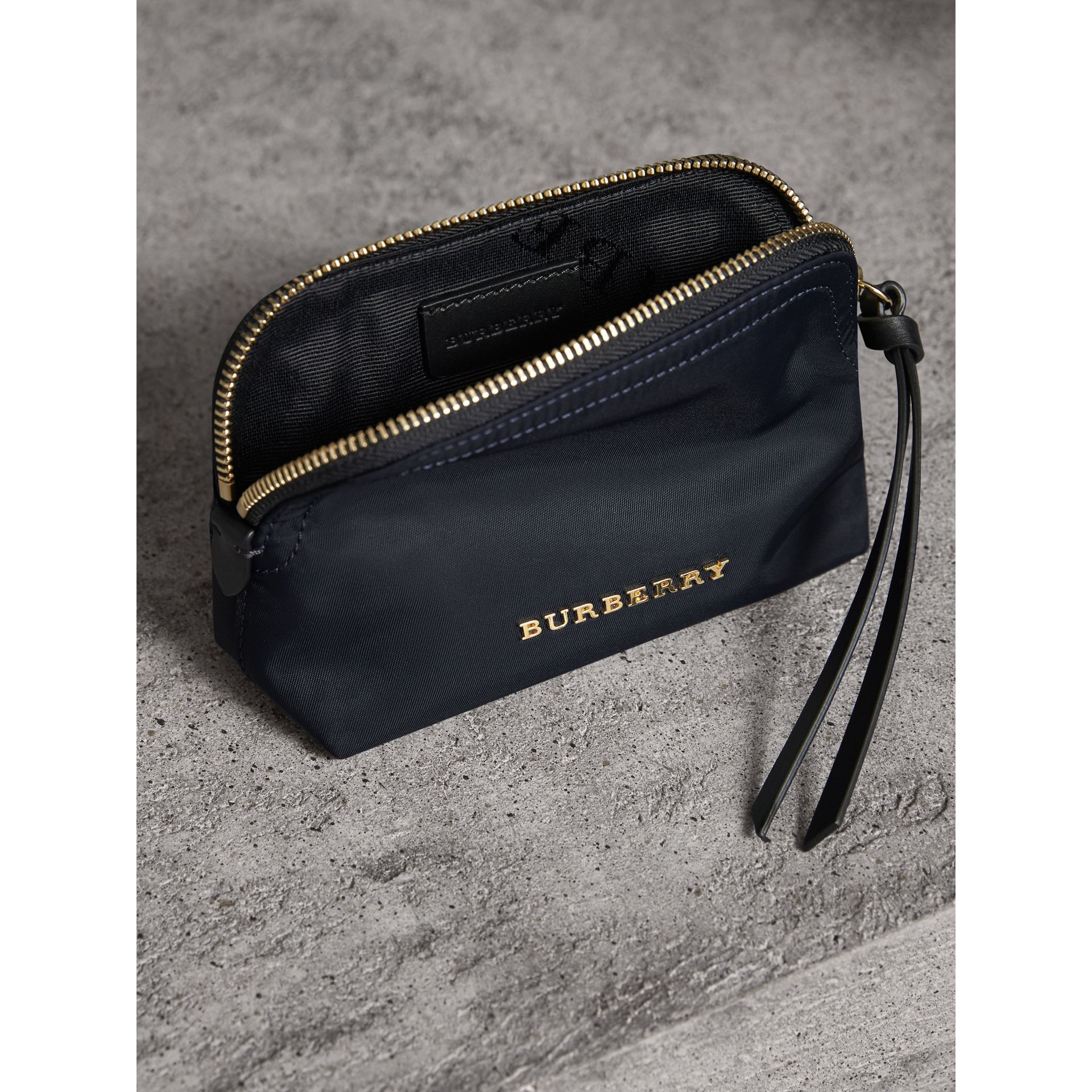 Small Zip-top Technical Nylon Pouch in Ink Blue - Women | Burberry Canada - gallery image 4