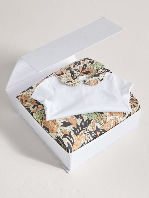 Beasts Print Cotton Two-piece Baby Gift Set in White | Burberry - cell image 3
