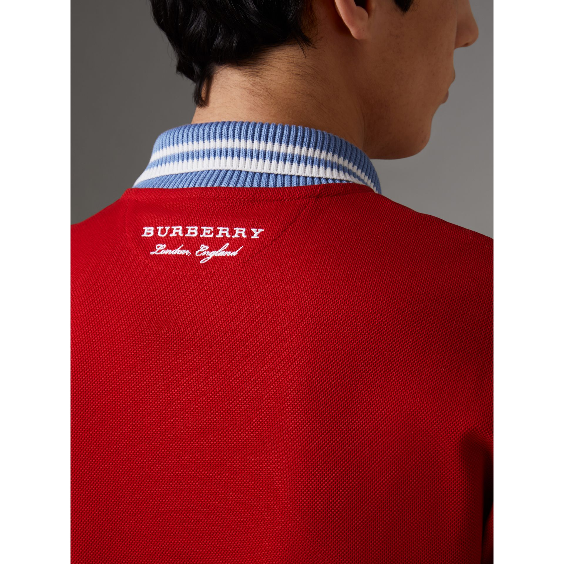 Two-tone Stripe Knitted Detail Cotton Polo Shirt in Cadmium Red - Men | Burberry Hong Kong - gallery image 4