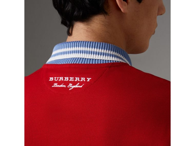 Two-tone Stripe Knitted Detail Cotton Polo Shirt in Cadmium Red - Men | Burberry - cell image 4