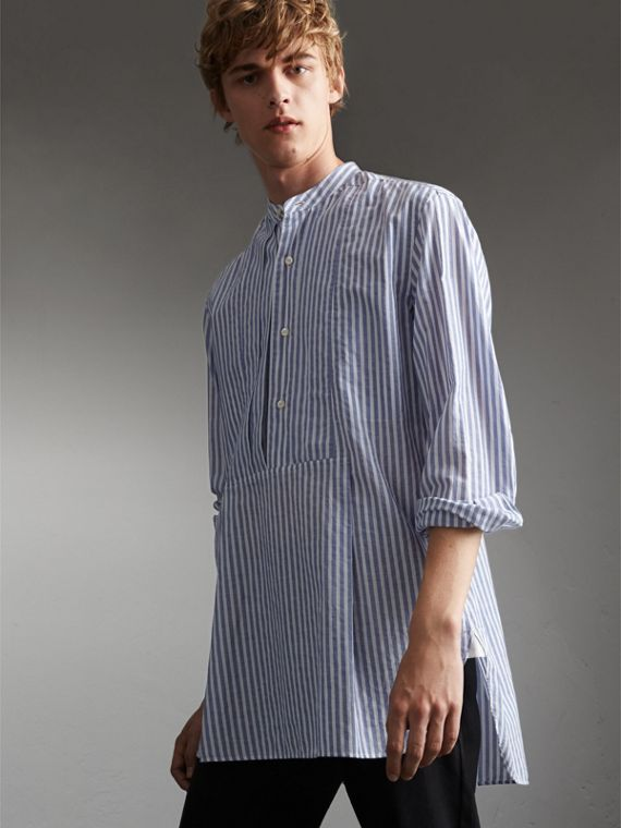 Unisex Pleated Bib Striped Cotton Shirt