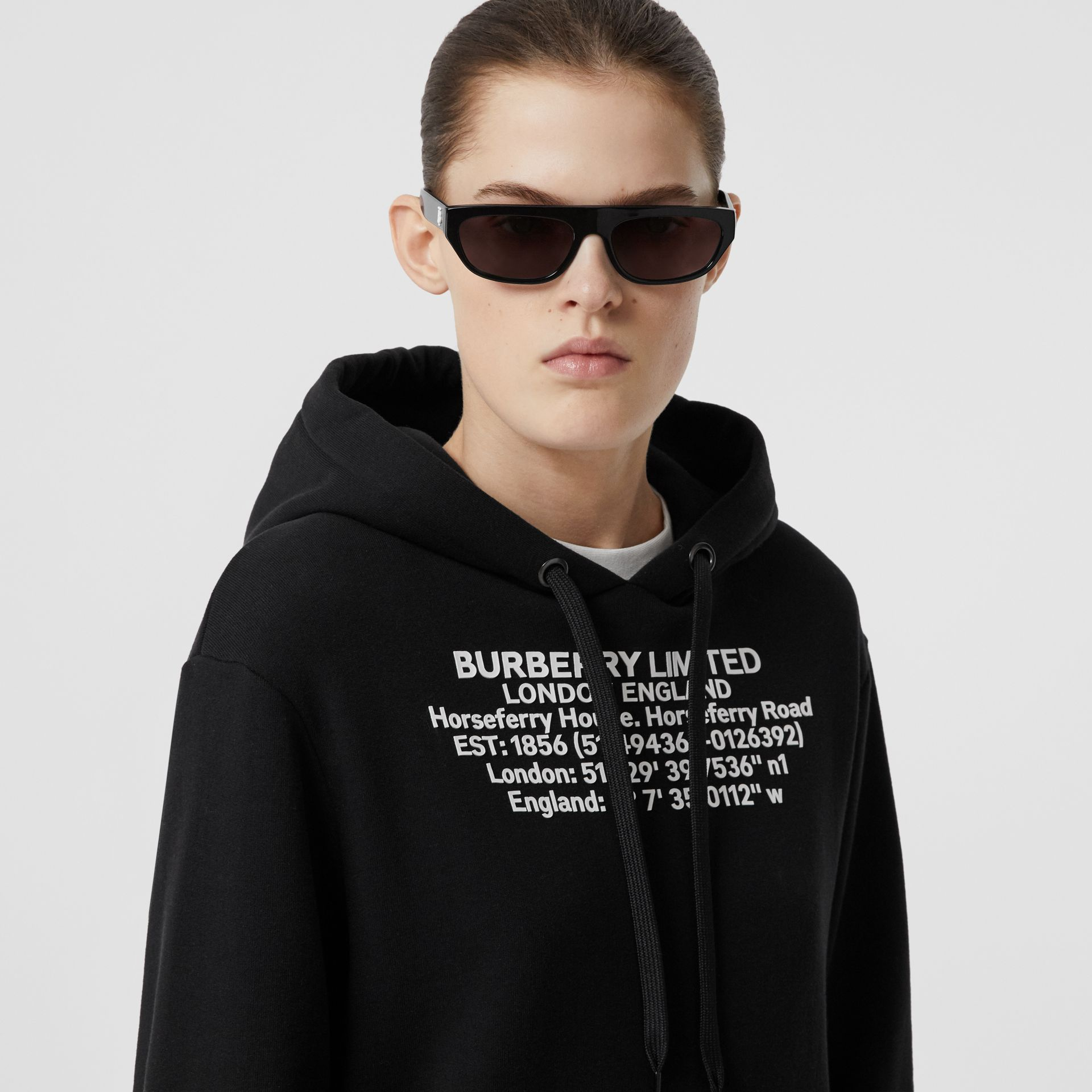 Location Print Cotton Oversized Hoodie in Black - Women | Burberry - gallery image 1
