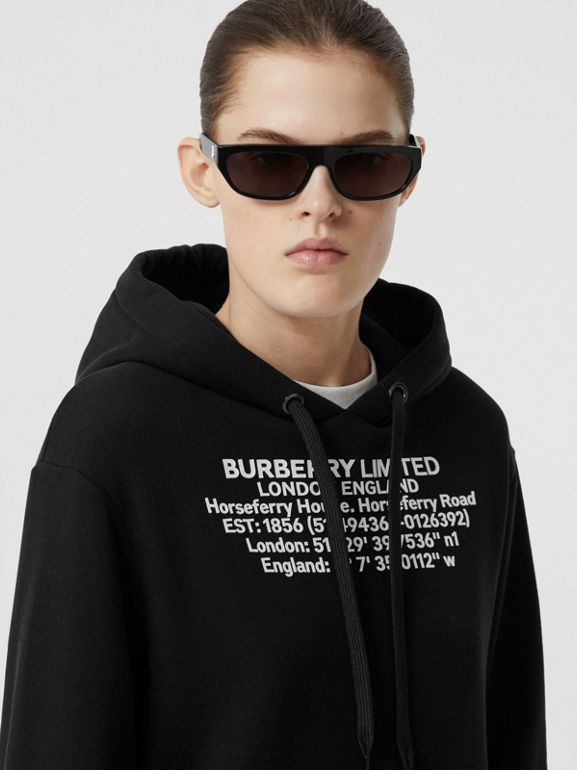 Location Print Cotton Oversized Hoodie in Black - Women | Burberry Singapore - cell image 1