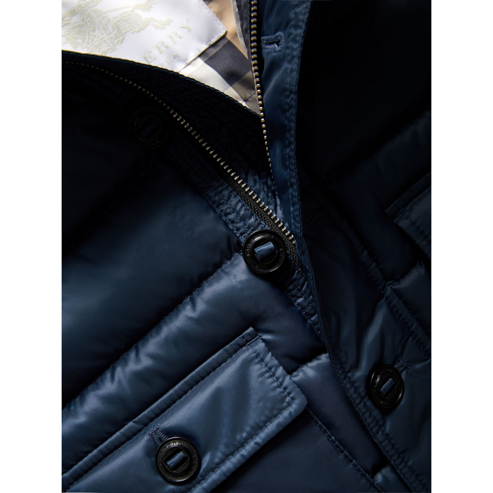 Shower-resistant Hooded Puffer Jacket in Ink Blue | Burberry - gallery image 1