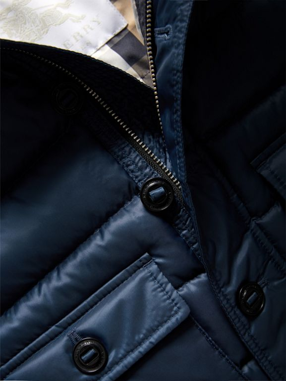 Shower-resistant Hooded Puffer Jacket in Ink Blue | Burberry - cell image 1