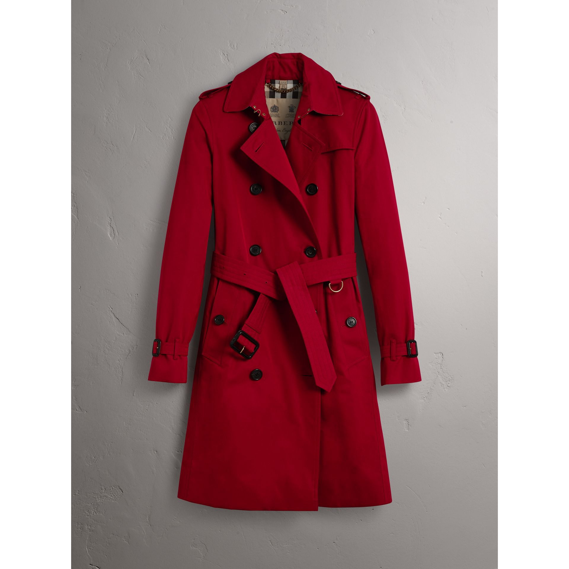 The Kensington – Long Trench Coat in Parade Red - Women | Burberry - gallery image 4