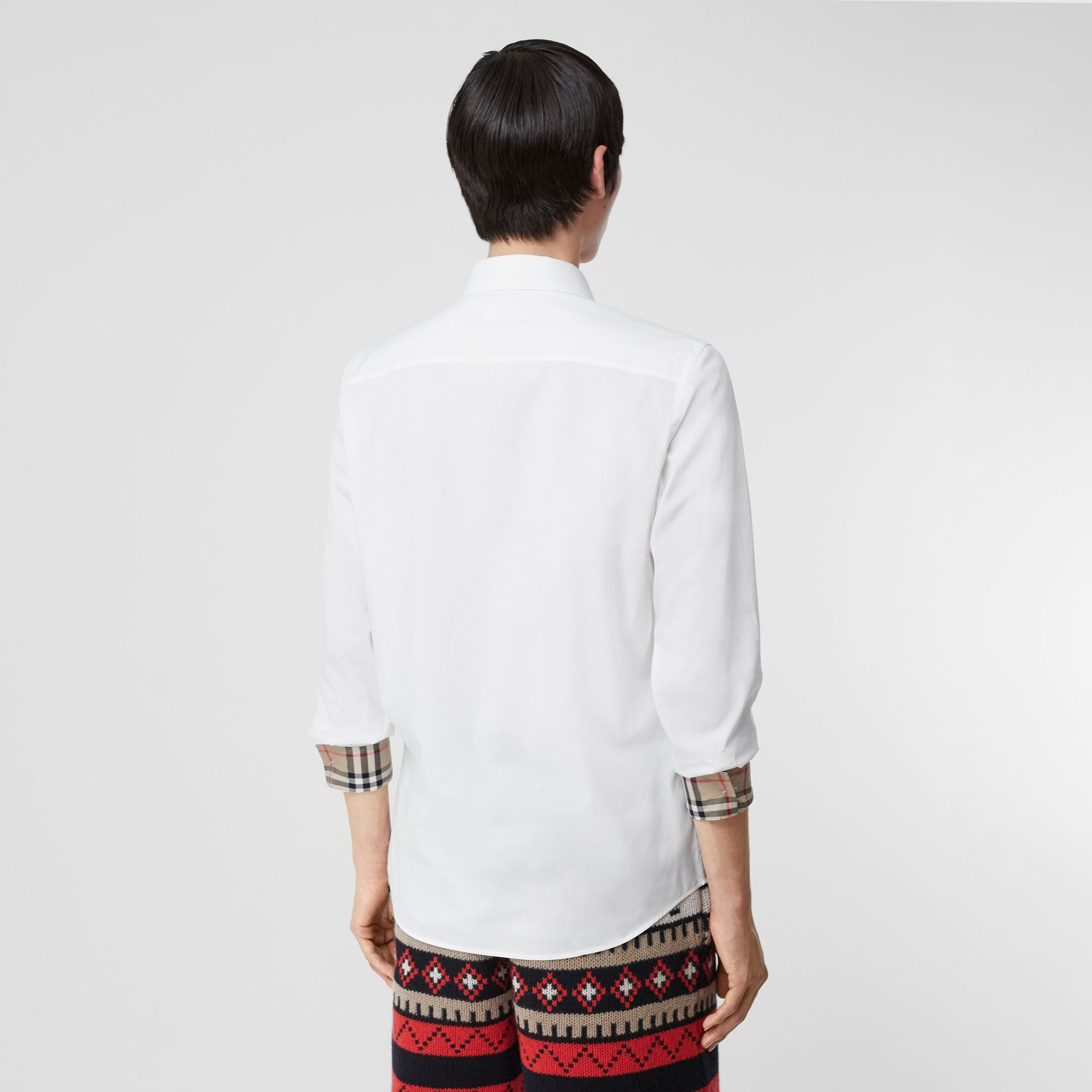 Embroidered EKD Stretch Cotton Poplin Shirt in White - Men | Burberry Hong Kong S.A.R - gallery image 2