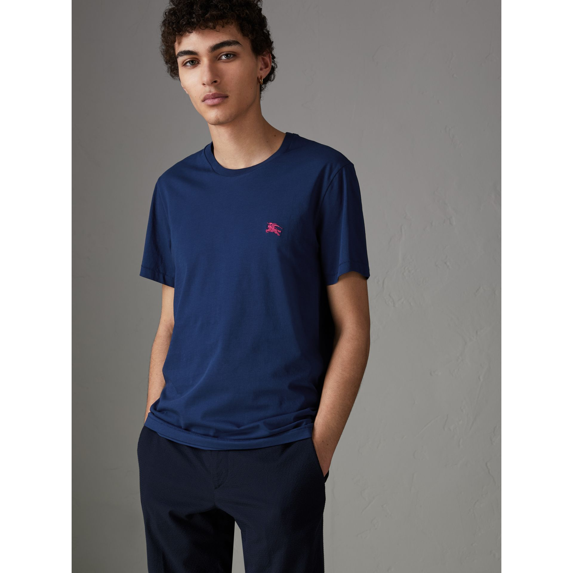 Cotton Jersey T-shirt in Bright Navy - Men | Burberry - gallery image 0