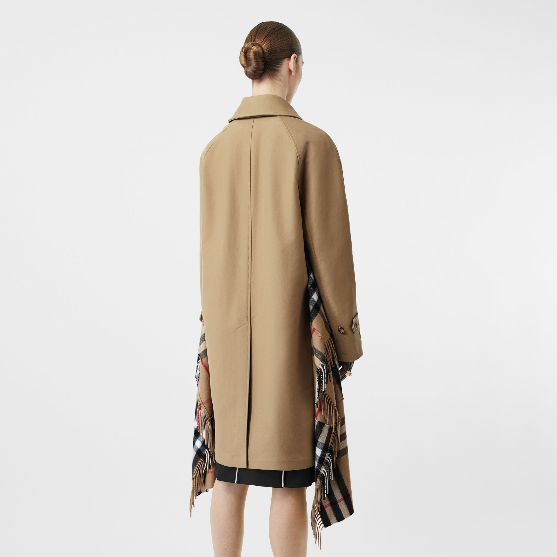 Scarf Detail Cotton Gabardine Car Coat in Honey - Women | Burberry - gallery image 1