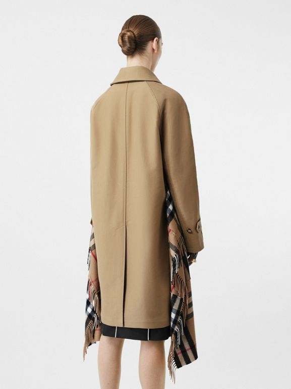Scarf Detail Cotton Gabardine Car Coat in Honey - Women | Burberry United States - cell image 1