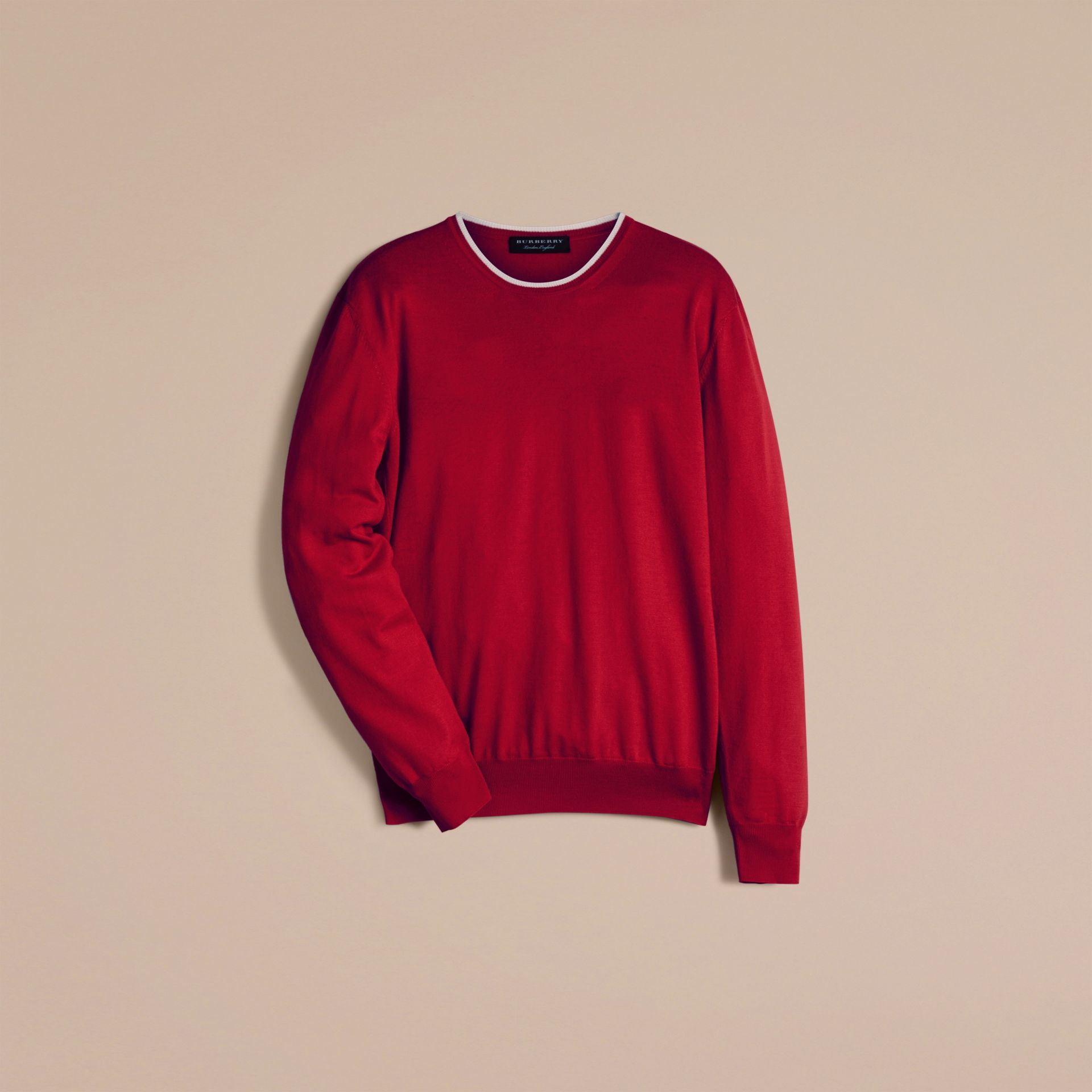 Cranberry  red/white Lightweight Crew Neck Wool Sweater - gallery image 3