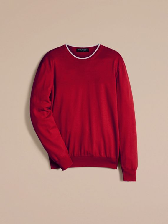 Cranberry  red/white Lightweight Crew Neck Wool Sweater - cell image 2