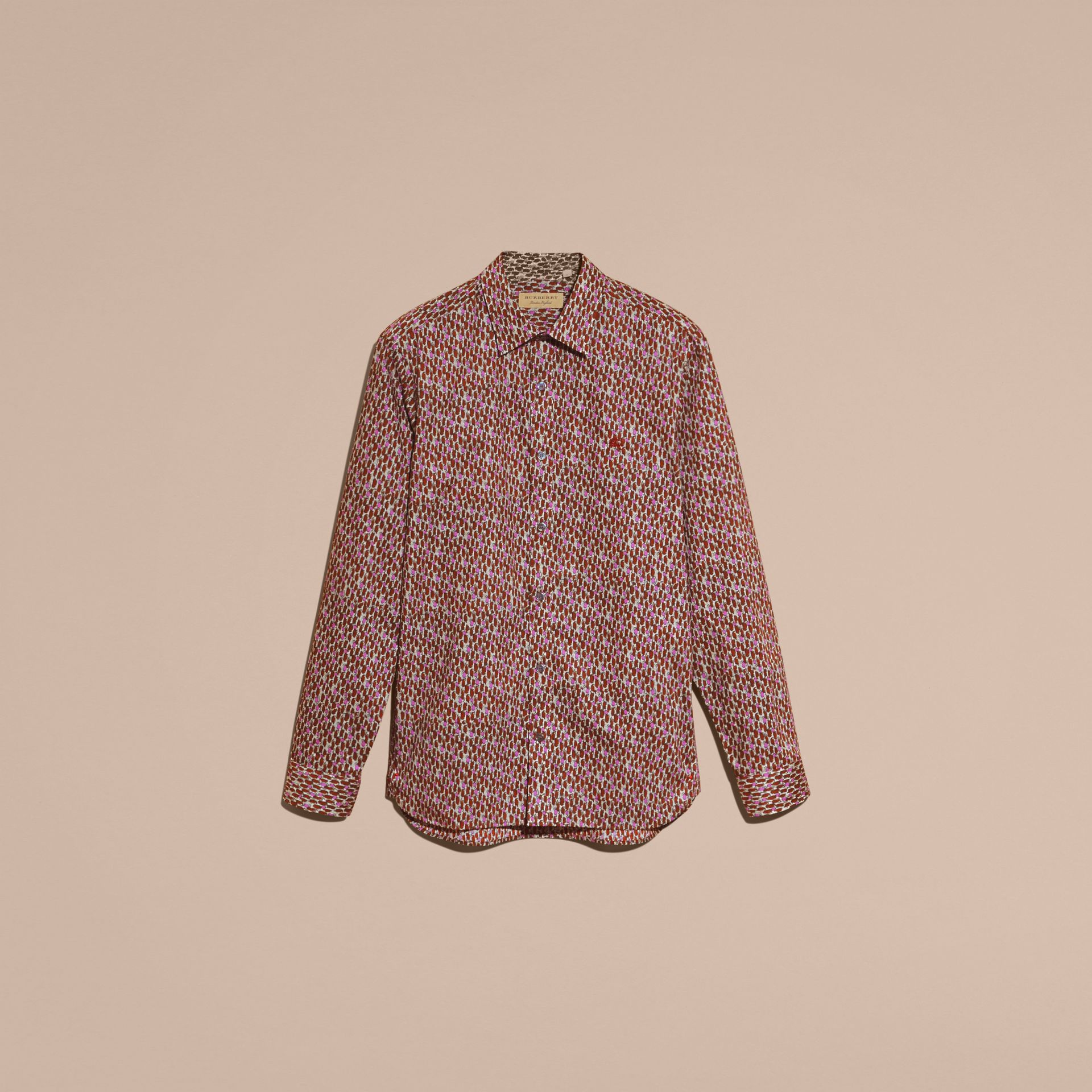 Painterly Dash Print Cotton Shirt Parade Red - gallery image 4