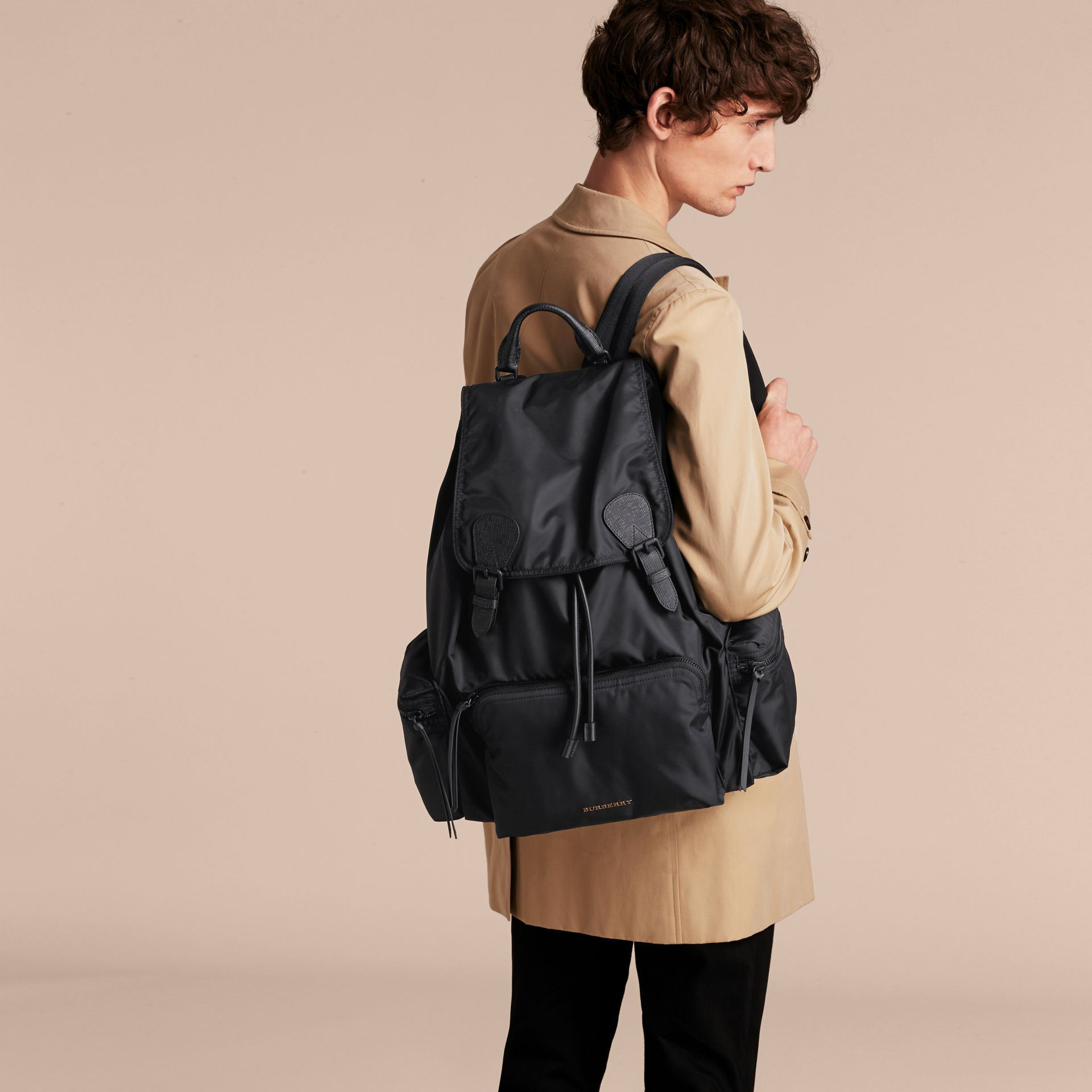The Extra Large Rucksack in Technical Nylon and Leather in Black - Men | Burberry Canada - gallery image 3