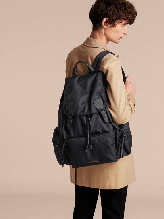 The Extra Large Rucksack in Technical Nylon and Leather in Black - Men | Burberry Australia - cell image 2