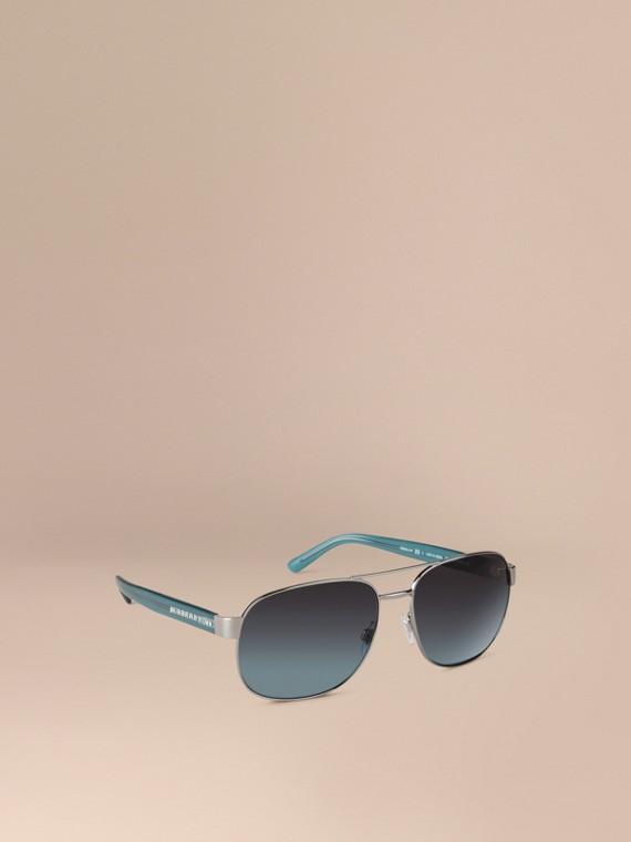 Square Frame Aviator Polarised Sunglasses Blue