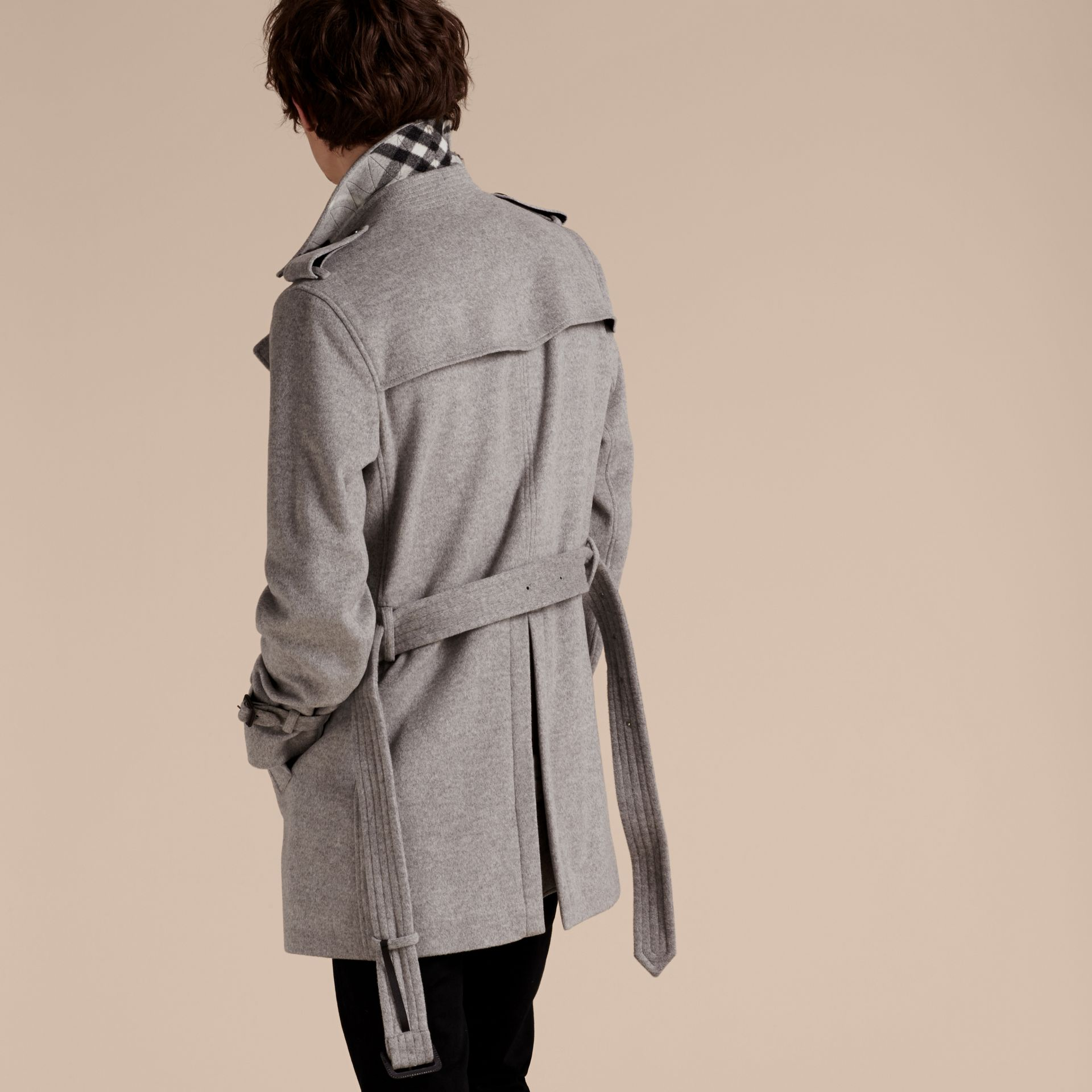 Pale grey melange Wool Cashmere Trench Coat Pale Grey Melange - gallery image 3