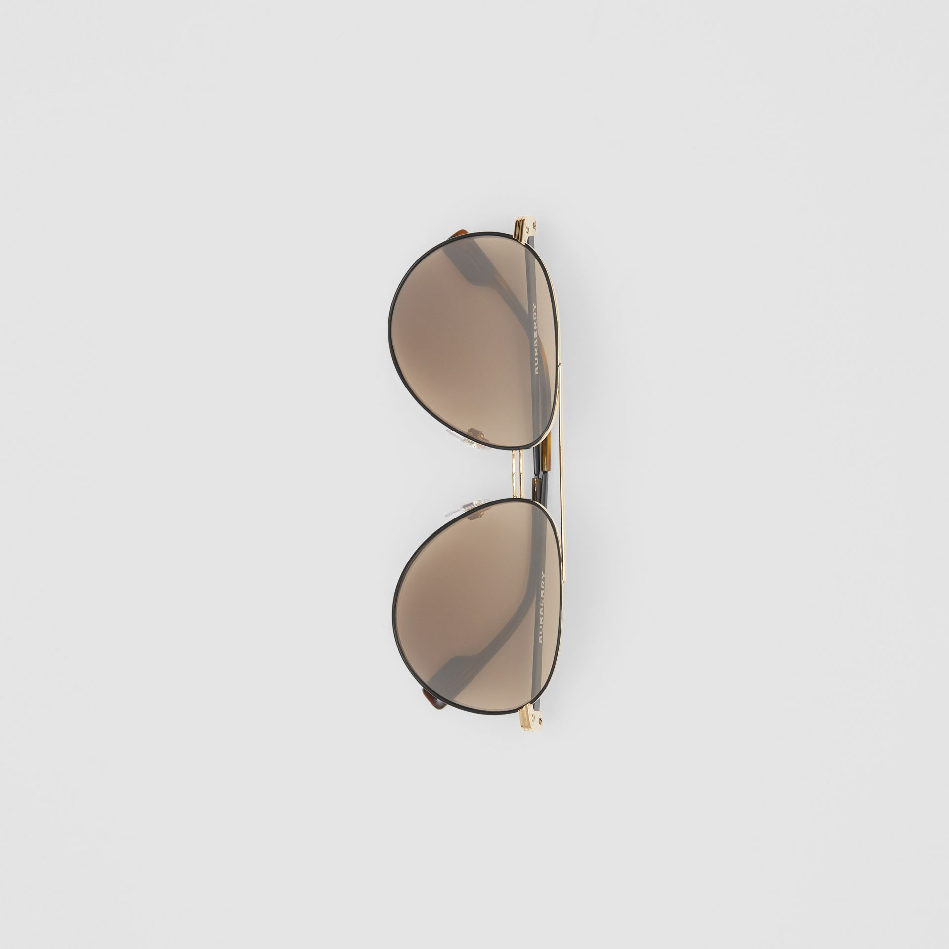 Top Bar Detail Pilot Sunglasses in Gold - Men | Burberry Canada - gallery image 3