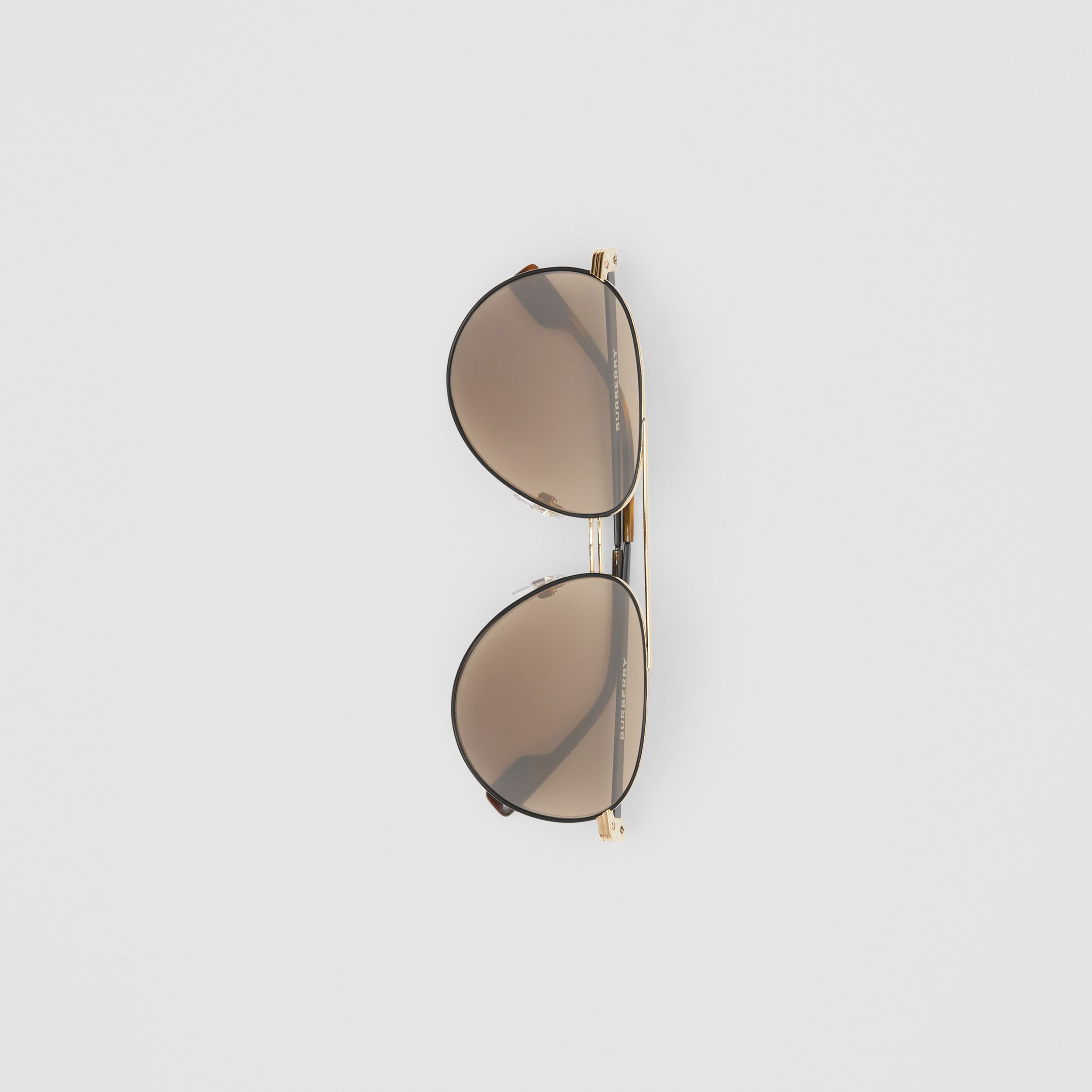 Top Bar Detail Pilot Sunglasses in Gold - Men | Burberry - 4