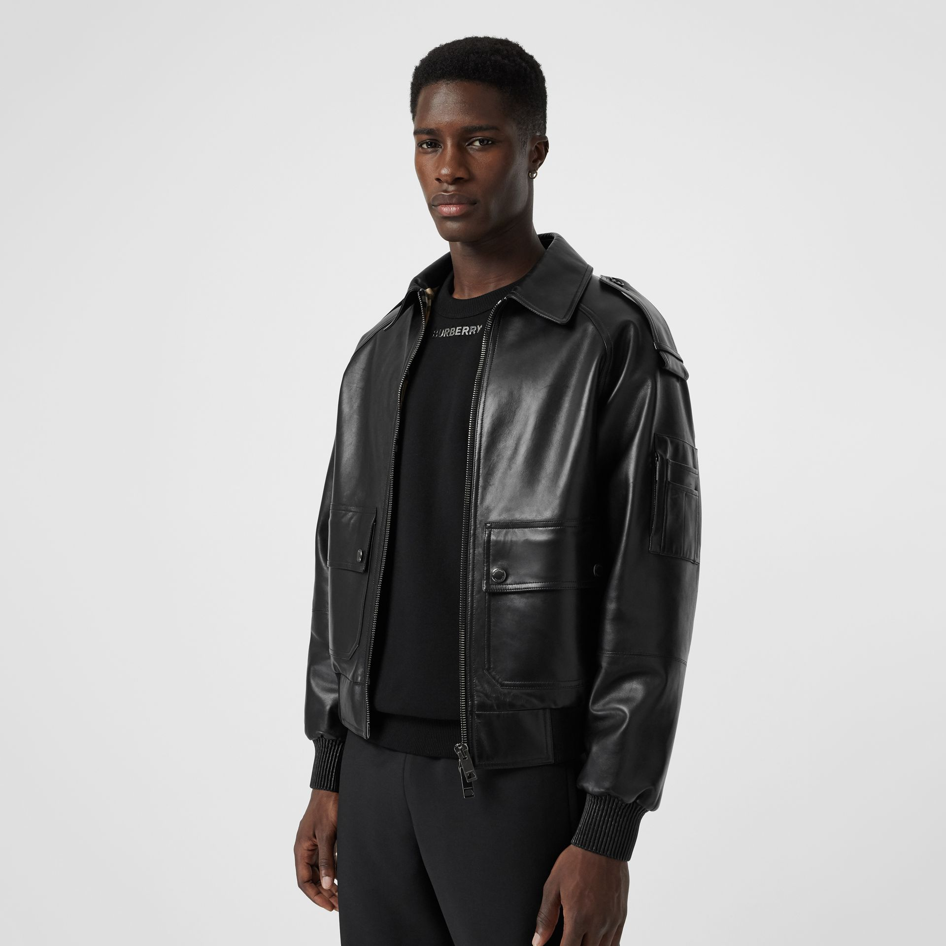 Lambskin Bomber Jacket in Black - Men | Burberry - gallery image 5
