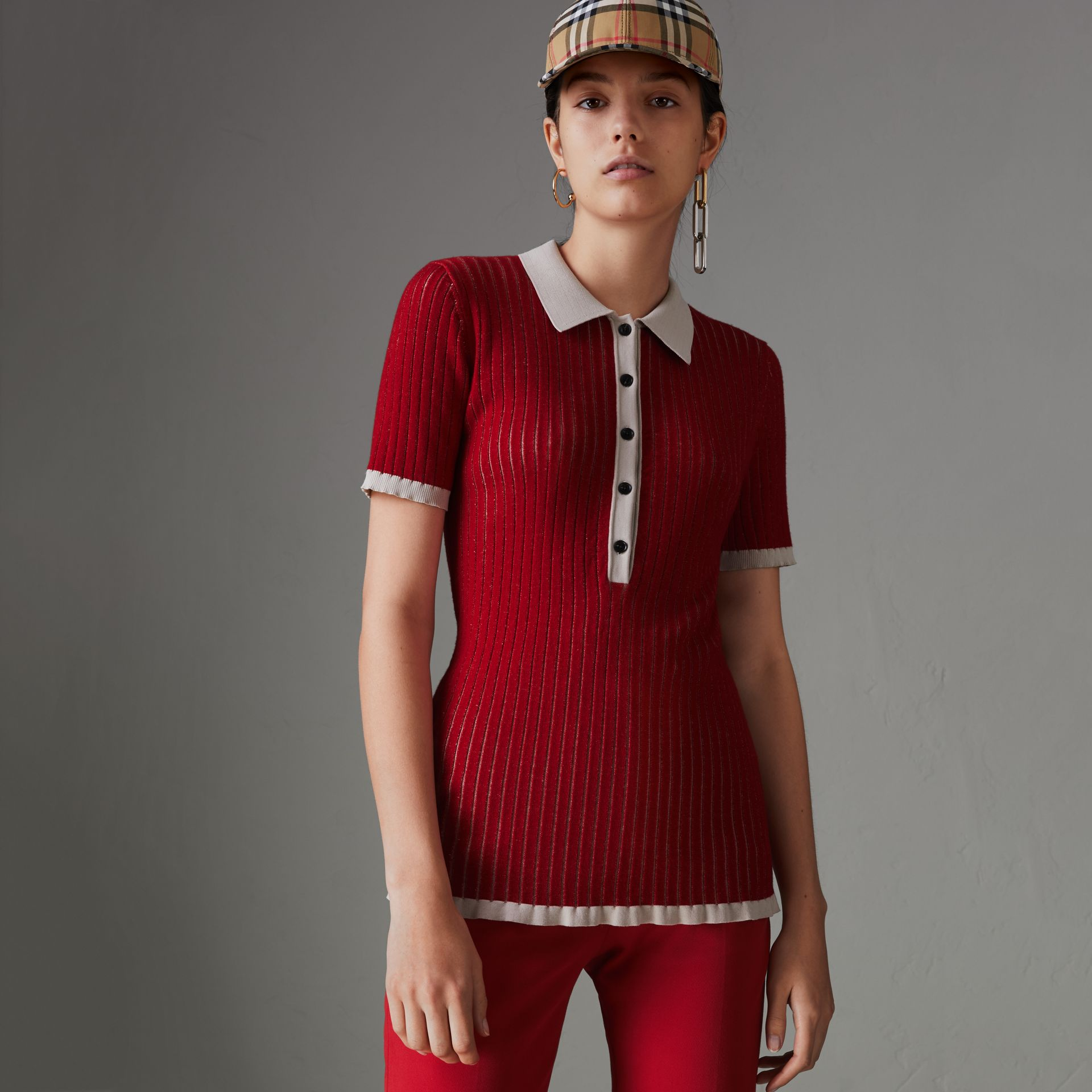 Two-tone Cashmere Silk Polo Shirt in Military Red - Women | Burberry - gallery image 0